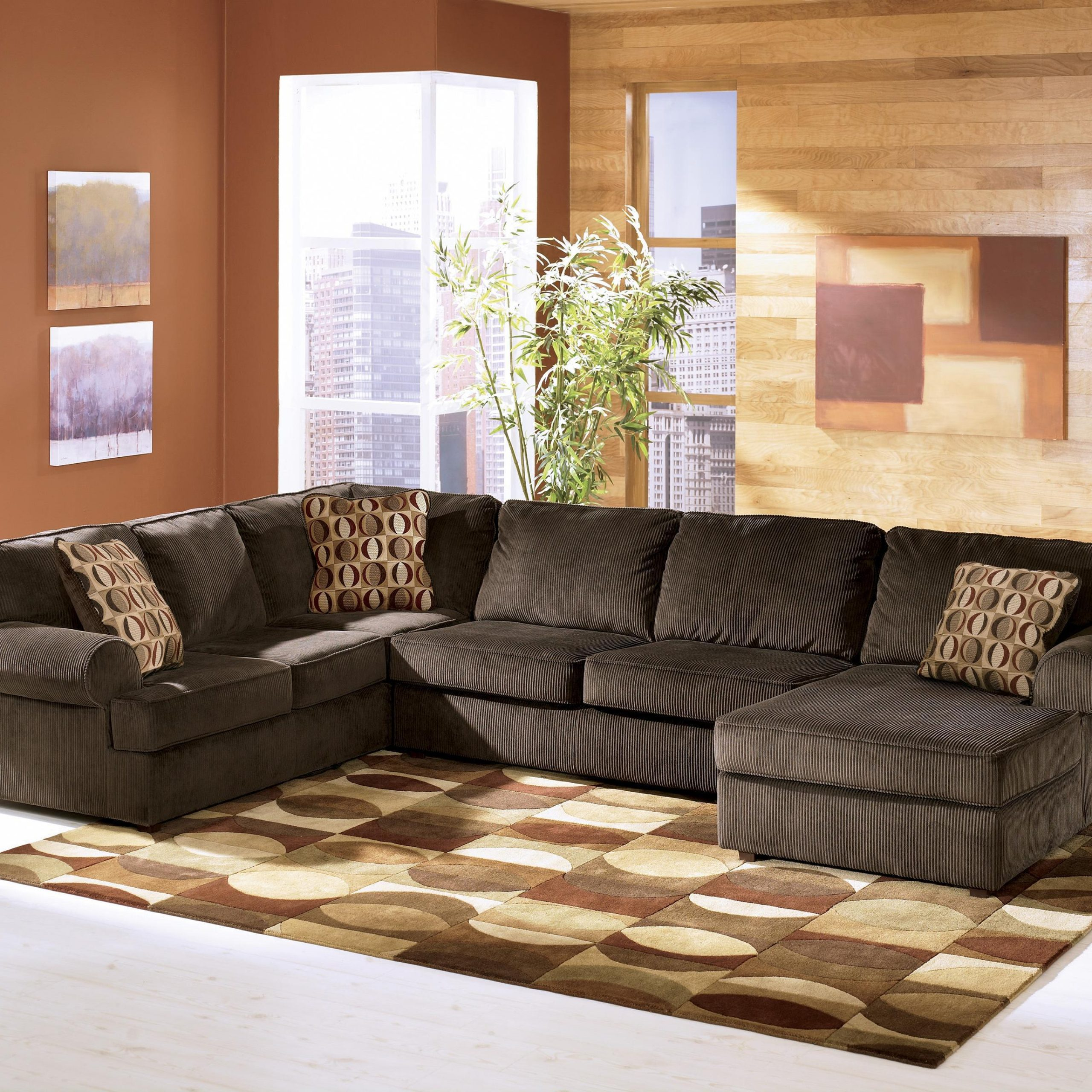 2018 3Pc Polyfiber Sectional Sofas For Ashley Furniture Vista – Chocolate Casual 3 Piece (View 15 of 25)