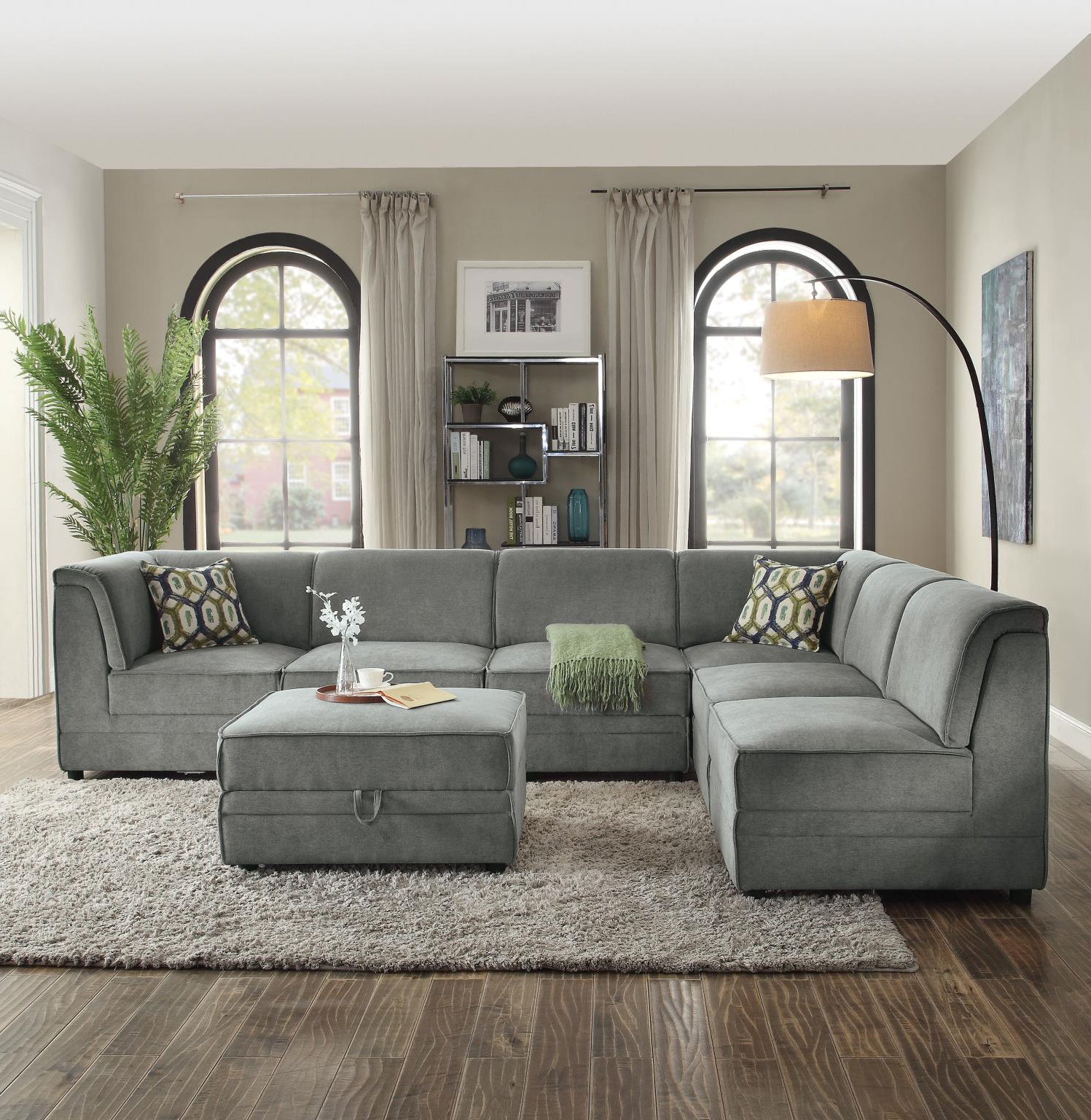 2018 Bois Ii Modular Convertible Sectional Sofa With Ottoman Intended For Paul Modular Sectional Sofas Blue (View 20 of 25)