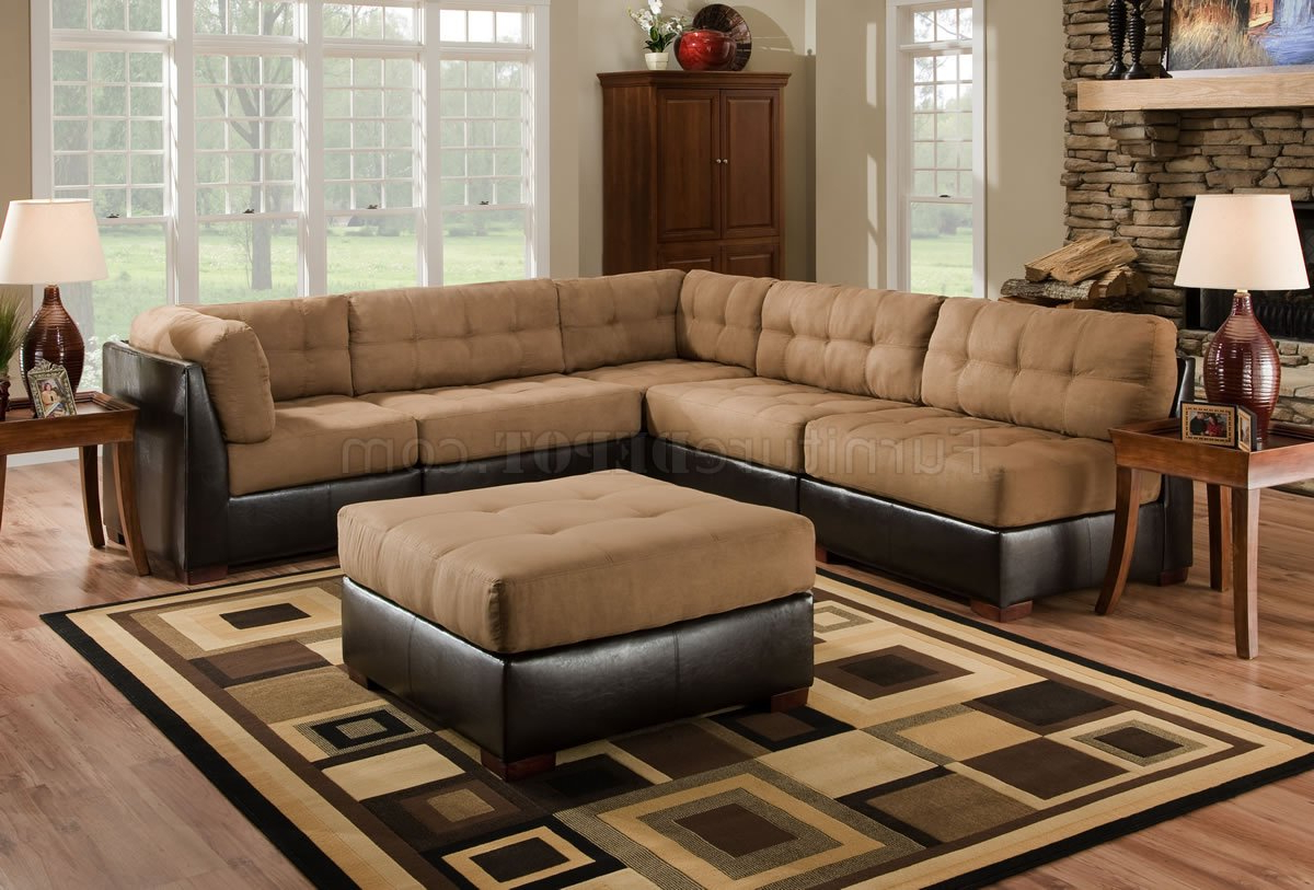 2018 Camel Fabric Sectional Sofa W/Dark Brown Faux Leather Base Inside 3Pc Faux Leather Sectional Sofas Brown (View 1 of 25)