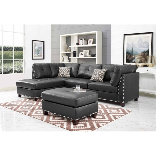 2018 Discontinued: Black Faux Leather Sectional Sofa And With Monet Right Facing Sectional Sofas (View 9 of 25)
