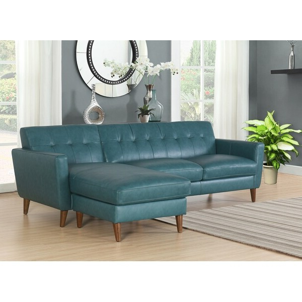 2018 Divani Casa Hobart Modern Blue Leather Sectional Sofa Best Inside Bloutop Upholstered Sectional Sofas (View 1 of 25)