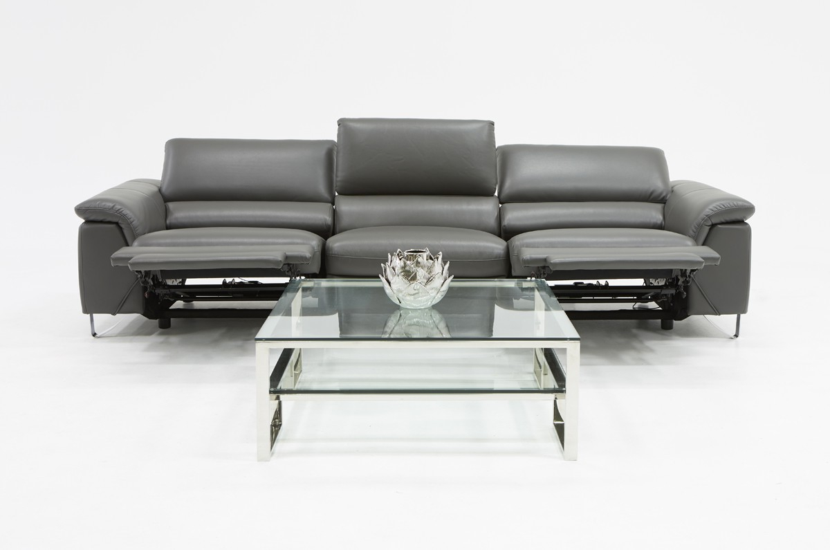 2018 Divani Casa Maine Modern Grey Eco Leather Sofa W/ Electric With Regard To Ludovic Contemporary Sofas Light Gray (View 8 of 25)