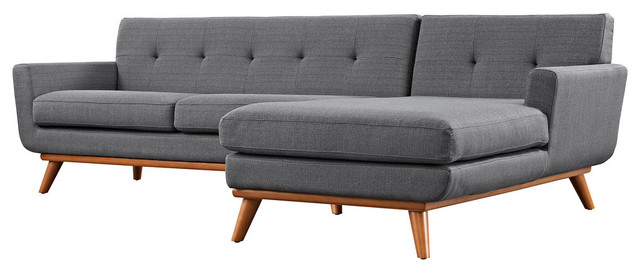 2018 Element Right Side Chaise Sectional Sofas In Dark Gray Linen And Walnut Legs With Modern Contemporary Left Facing Sectional Sofa, Azure (View 25 of 25)