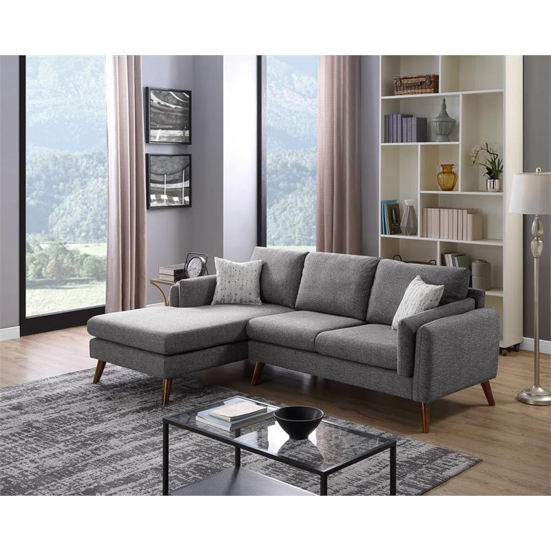 2018 Founders Gray Mid Century Fabric Right Hand Facing With Alani Mid Century Modern Sectional Sofas With Chaise (View 8 of 25)