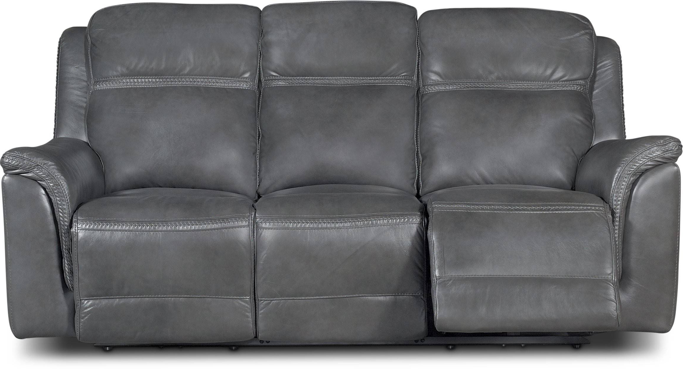 2018 Gray Reclining Sofas Intended For Gray Leather Match Power Reclining Sofa Loveseat – Designs (View 10 of 17)