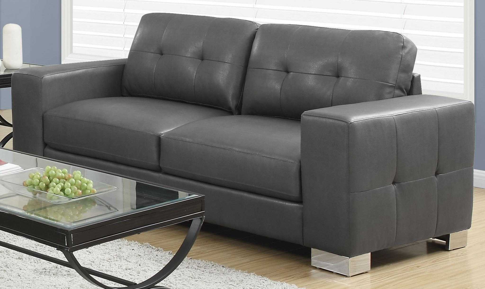 2018 Gray Sofas For 8223Gy Charcoal Gray Bonded Leather Sofa From Monarch (View 12 of 15)