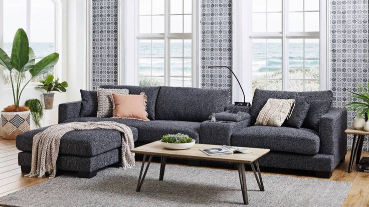 2018 Harmon Roll Arm Sectional Sofas Pertaining To Frontier 3 Seater Fabric Sofa With Console (View 14 of 25)