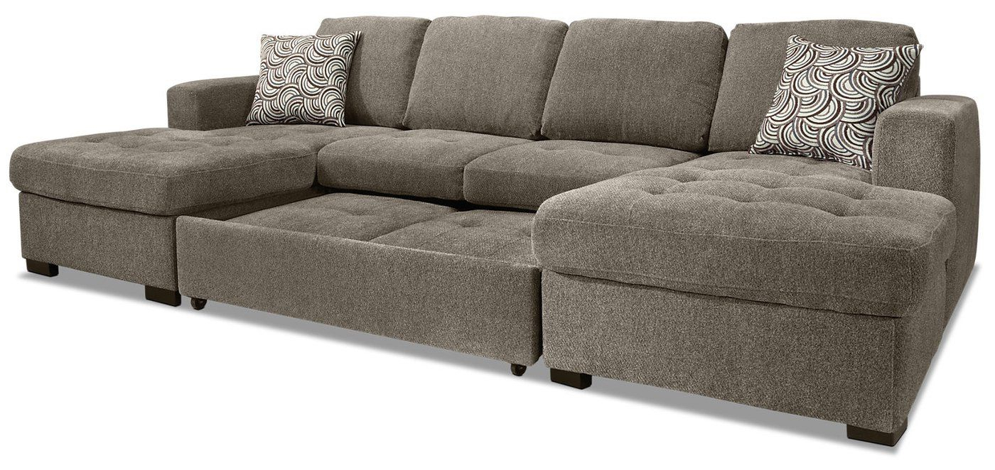 2018 Hugo Chenille Upholstered Storage Sectional Futon Sofas Pertaining To Izzy 3 Piece Chenille Sofa Bed Sectional With Two Chaises (View 15 of 25)