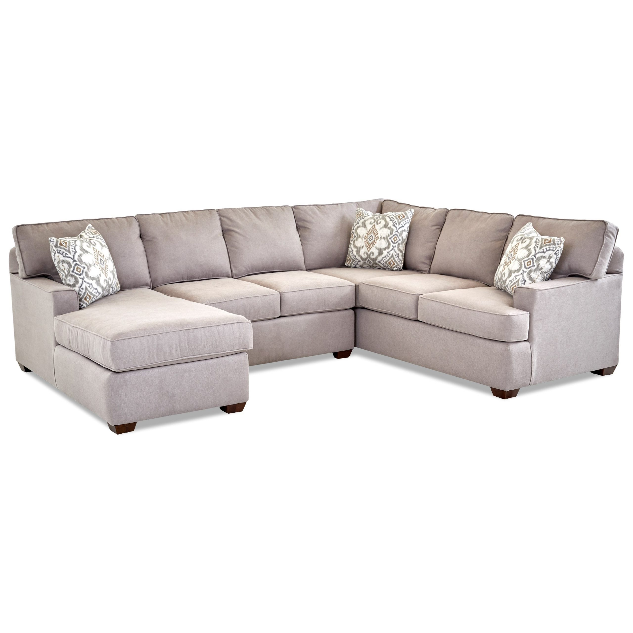 2018 Klaussner Pantego 3 Piece Sectional Sofa With Raf Chaise In 3Pc Miles Leather Sectional Sofas With Chaise (View 1 of 25)