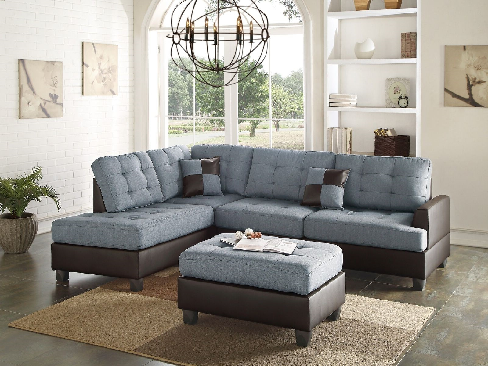 2018 Ludovic Contemporary Sofas Light Gray With Regard To Mathew Sectional Sofa Set Contemporary Grey Linen Like (View 1 of 25)