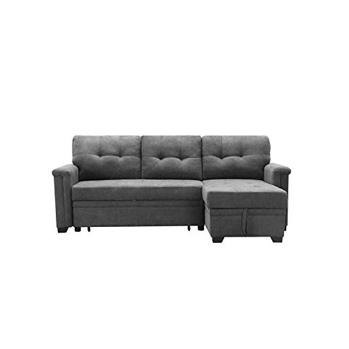 2018 Maklaine Contemporary Gray Fabric Reversible/Sectional With Harmon Roll Arm Sectional Sofas (View 8 of 25)