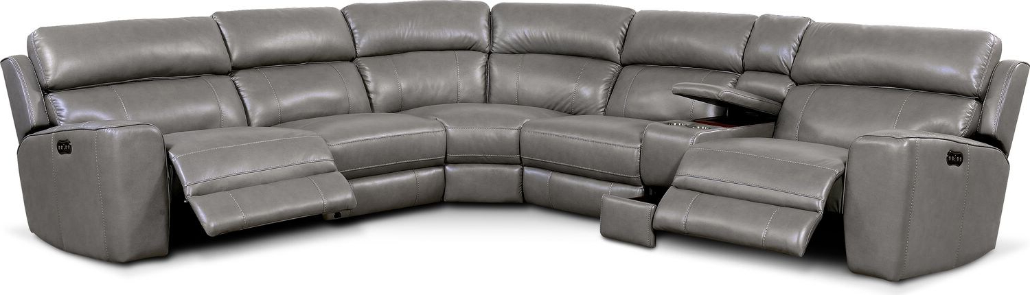 2018 Newport 6 Piece Power Reclining Sectional With 2 Reclining Pertaining To Forte Gray Power Reclining Sofas (View 1 of 15)