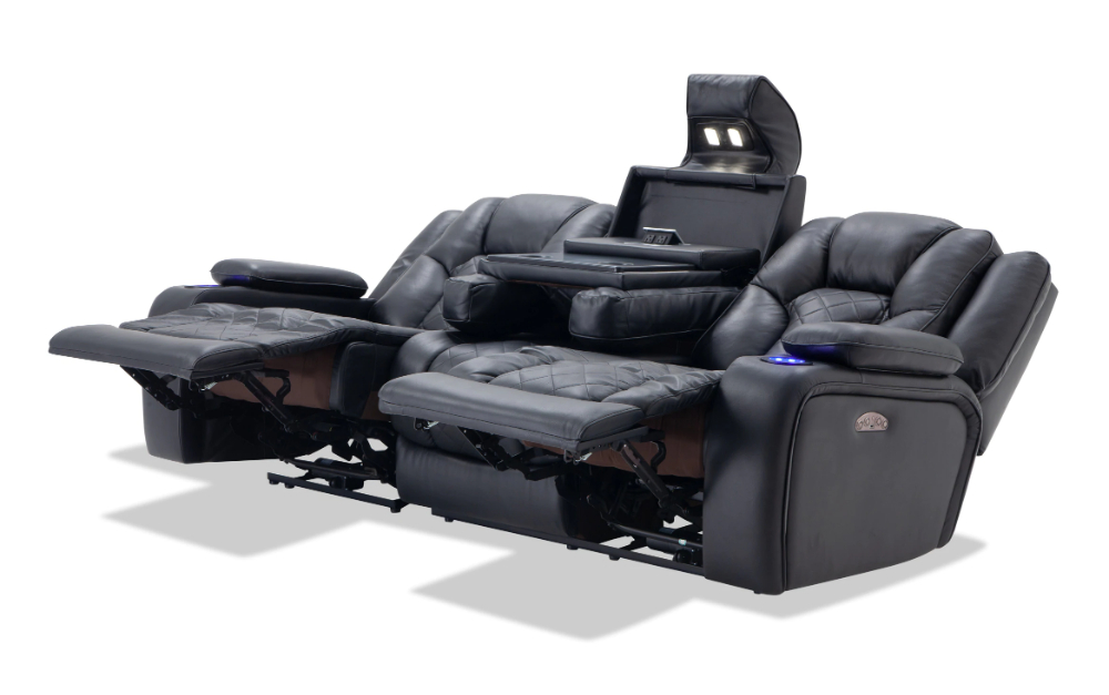 2018 Panther Fire Leather Dual Power Reclining Sofas Throughout Panther Leather Power Reclining Sofa Console Loveseat (View 7 of 15)