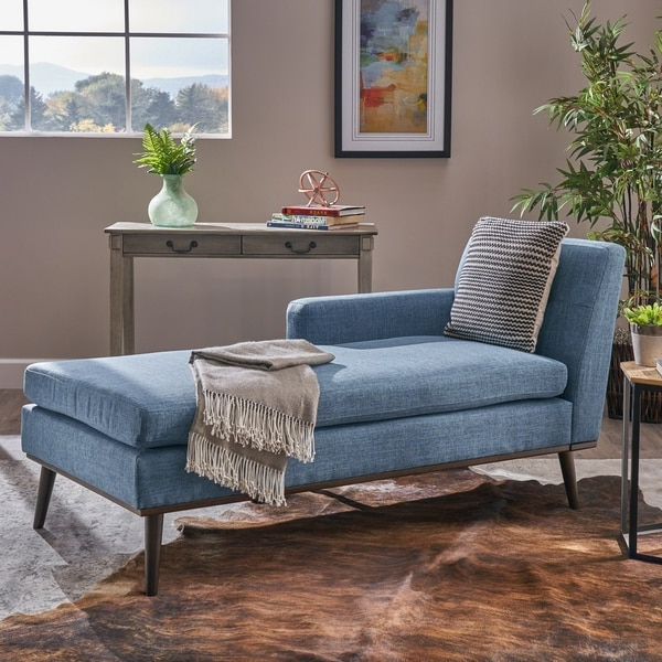 2018 Shop Stormi Mid Century Modern Tufted Fabric Chaise Lounge Inside Dulce Mid Century Chaise Sofas Dark Blue (View 16 of 25)