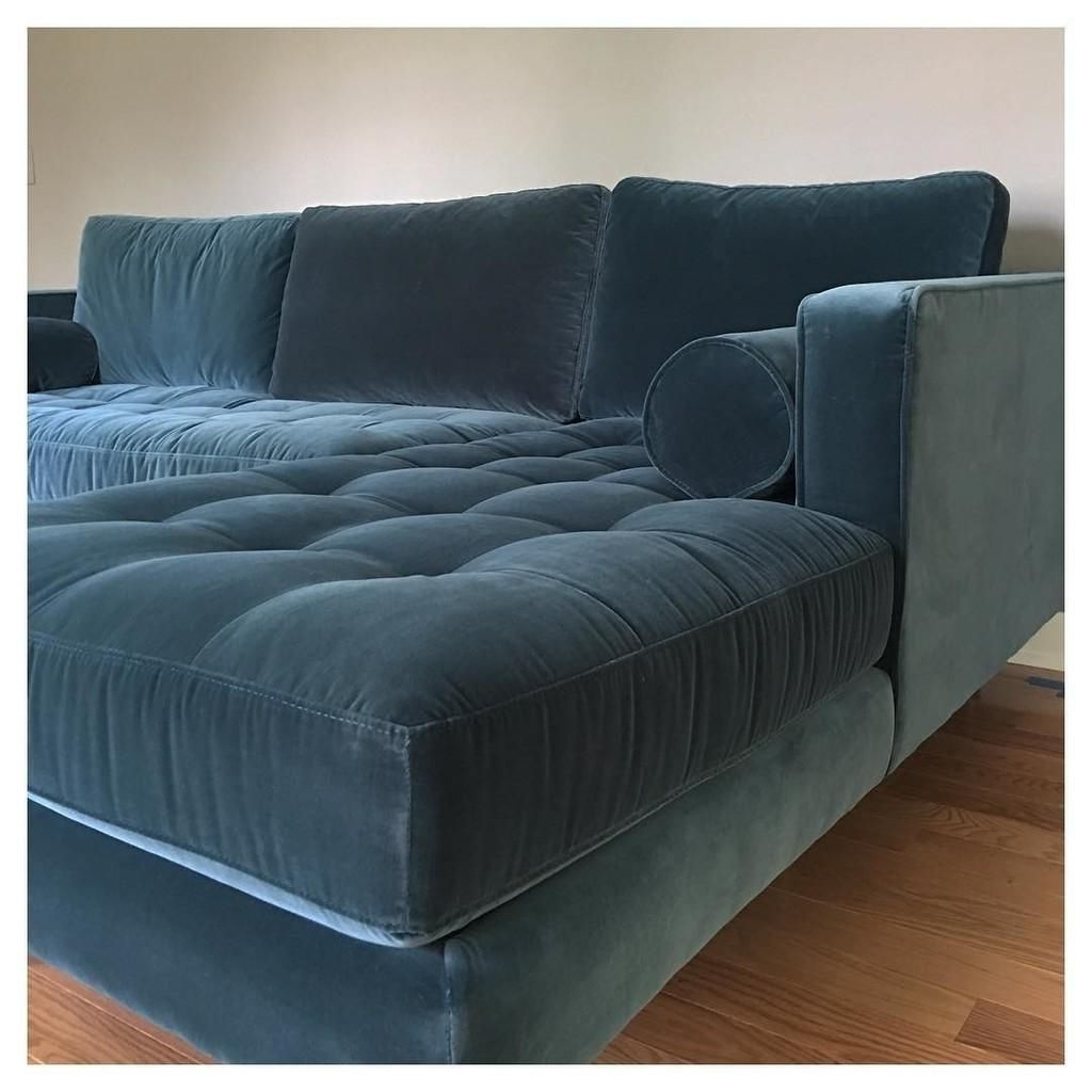 2018 Somerset Velvet Mid Century Modern Right Sectional Sofas Within Sven Cascadia Blue Right Sectional Sofa (View 5 of 25)