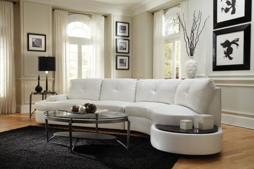 25 Contemporary Curved And Round Sectional Sofas Inside Widely Used Bonded Leather All In One Sectional Sofas With Ottoman And 2 Pillows Brown (View 7 of 25)