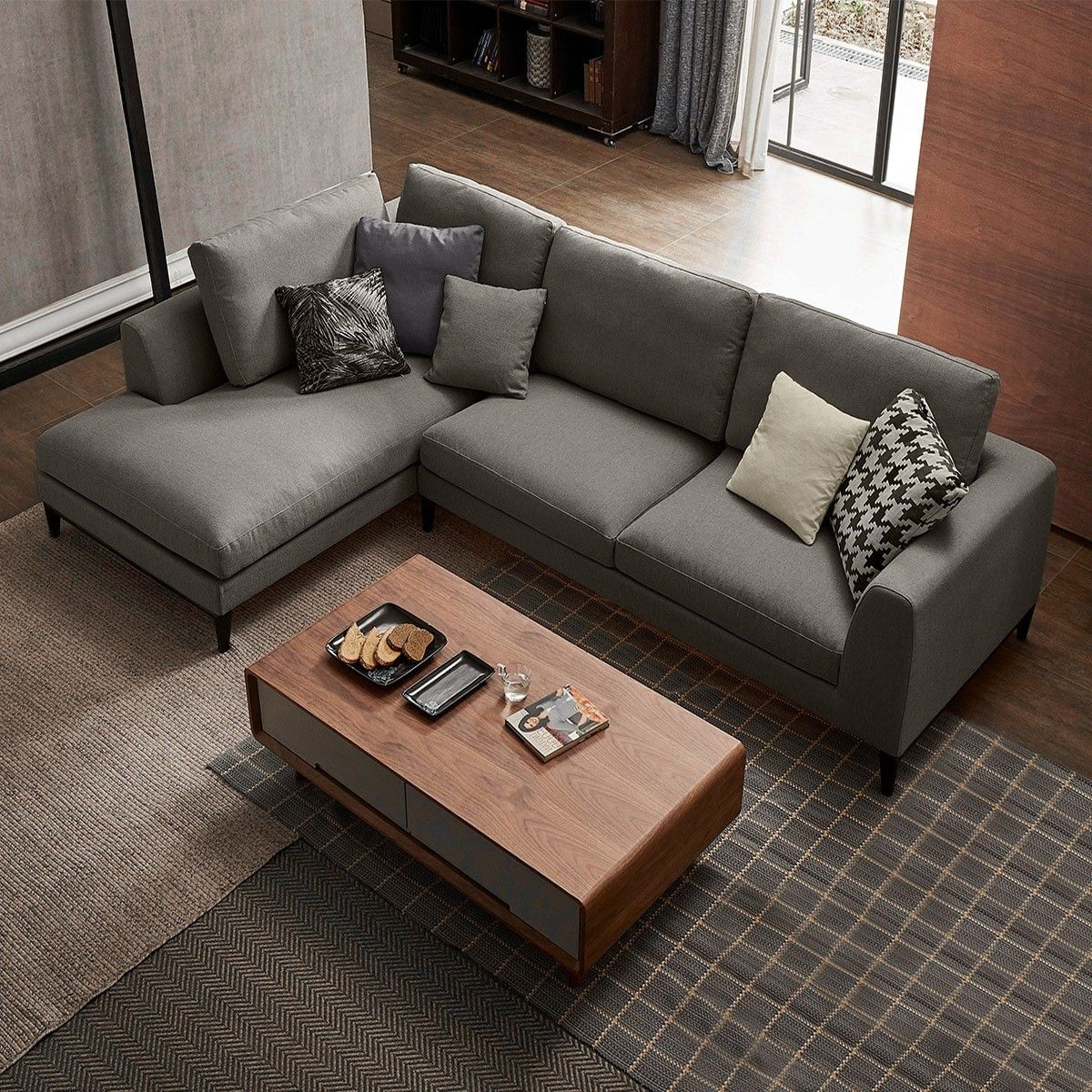 2Pc Connel Modern Chaise Sectional Sofas Black With Regard To Most Up To Date Contemporary Style 2 Piece L Shape Gray Linen Sectional (View 16 of 25)