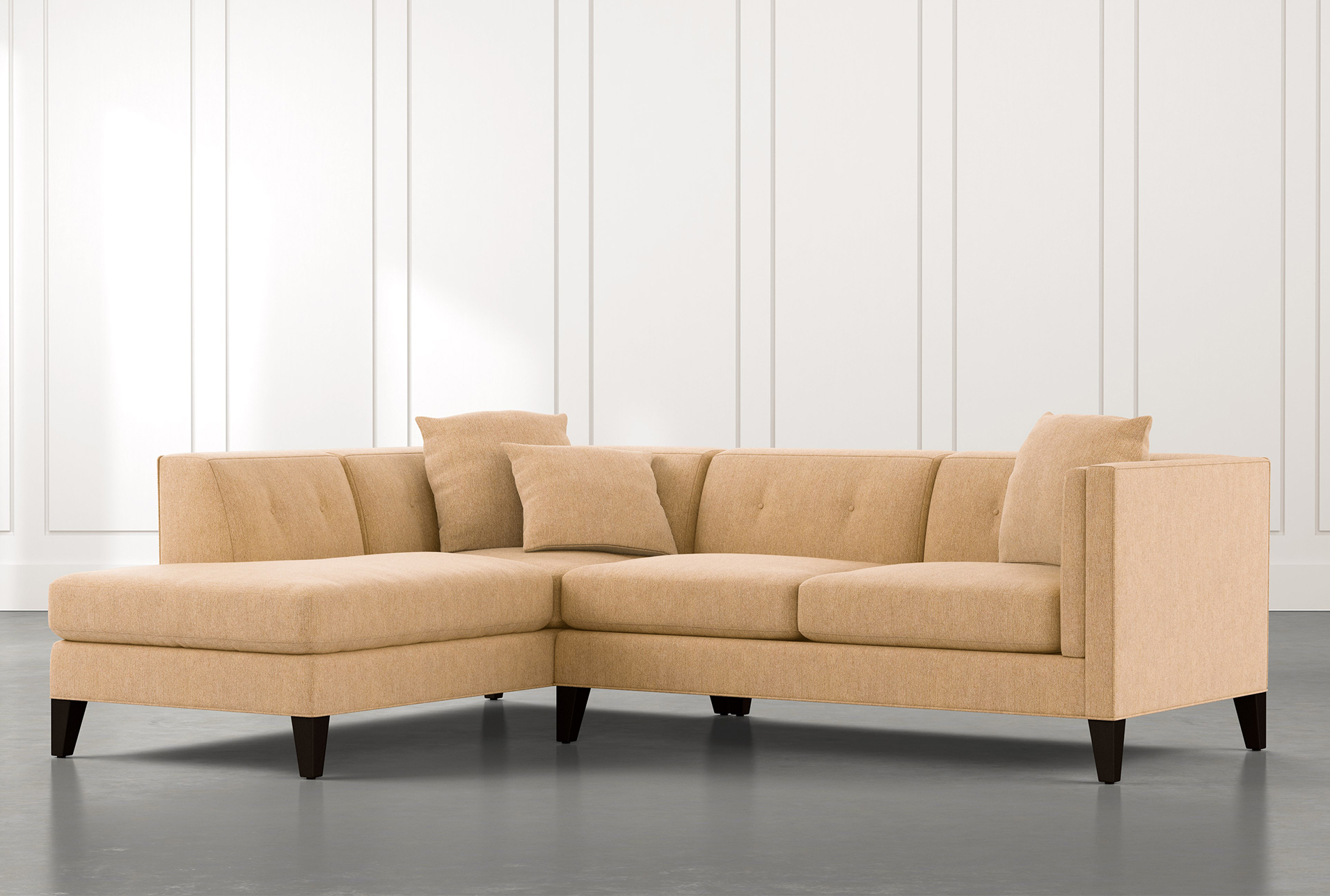 2Pc Connel Modern Chaise Sectional Sofas Black Within Recent Avery Ii Yellow 2 Piece Sectional Sofa With Right Arm (View 12 of 25)