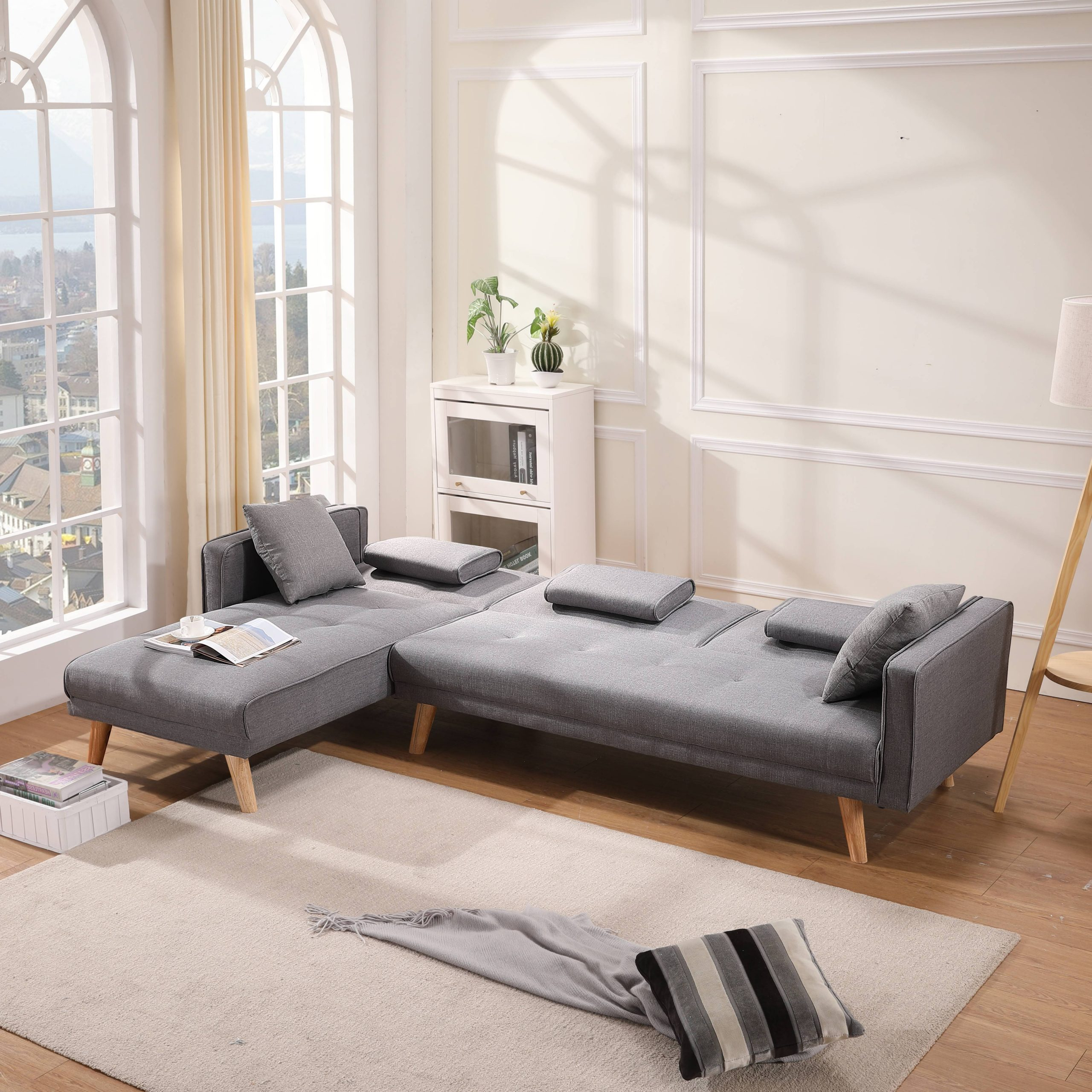 2Pc Crowningshield Contemporary Chaise Sofas Light Gray Throughout Recent Clearance! 2 Piece Contemporary Sectional Sofa Set, Queen (View 24 of 25)