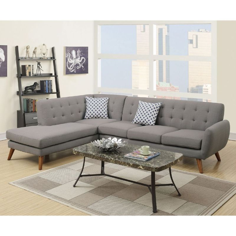 2Pc Crowningshield Contemporary Chaise Sofas Light Gray With Regard To Popular Barclay 4 Seat Linen Fabric Sofa Chaise Light Grey In  (View 3 of 25)