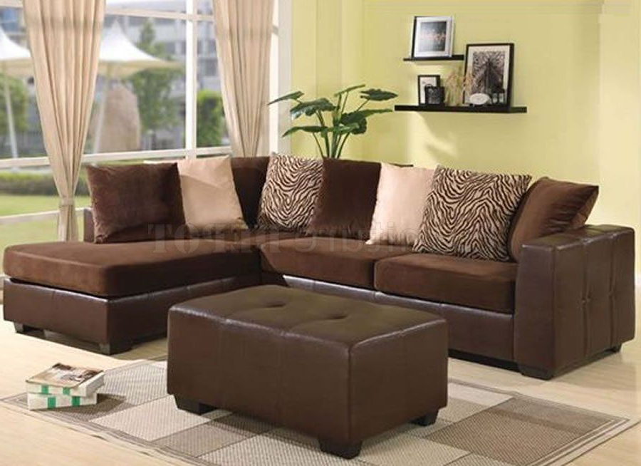 2Pc Maddox Left Arm Facing Sectional Sofas With Chaise Brown Intended For Most Up To Date Brown Sectional Sofas Hd Images (View 20 of 25)