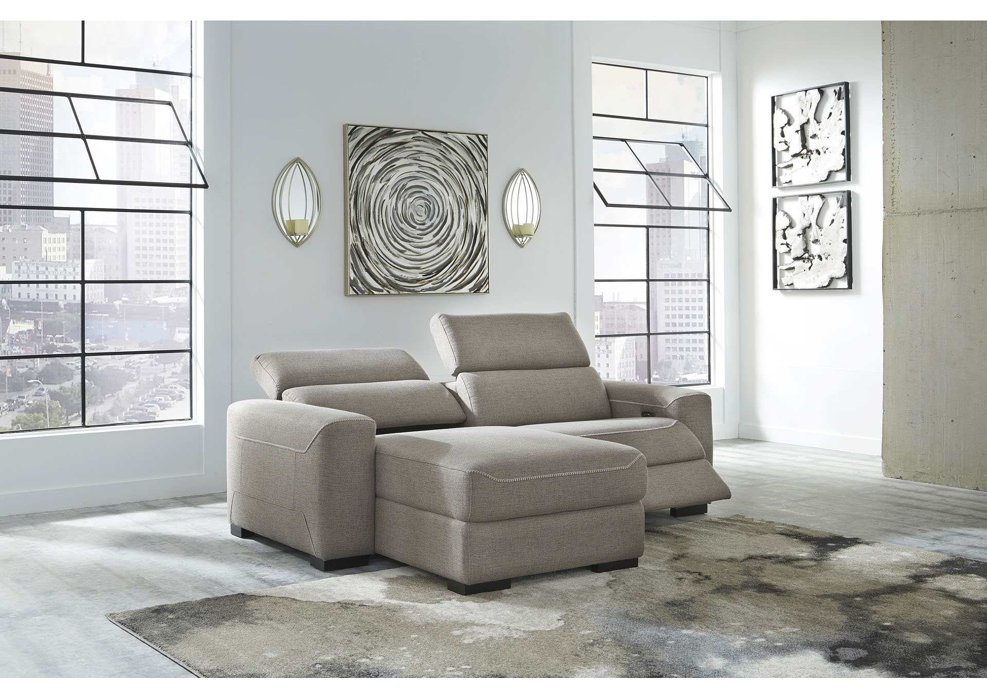 2Pc Maddox Right Arm Facing Sectional Sofas With Chaise Brown In Latest Mabton Gray Right Arm Facing Power Reclining 2 Piece (View 12 of 25)