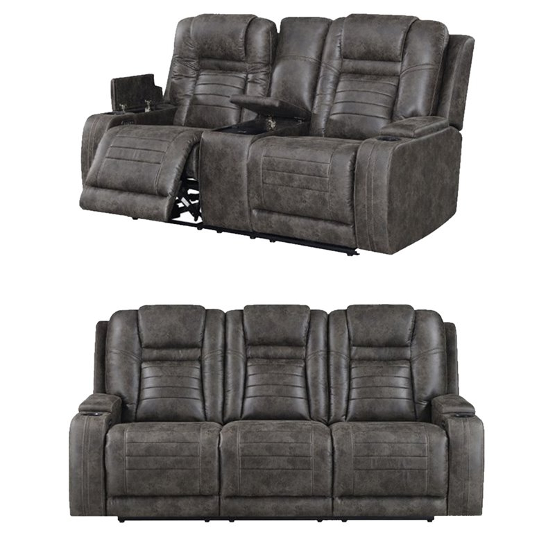 2Pc Maddox Right Arm Facing Sectional Sofas With Cuddler Brown Intended For Fashionable Living Room Sets: Sofa Sets With Couch And Loveseat (View 13 of 18)
