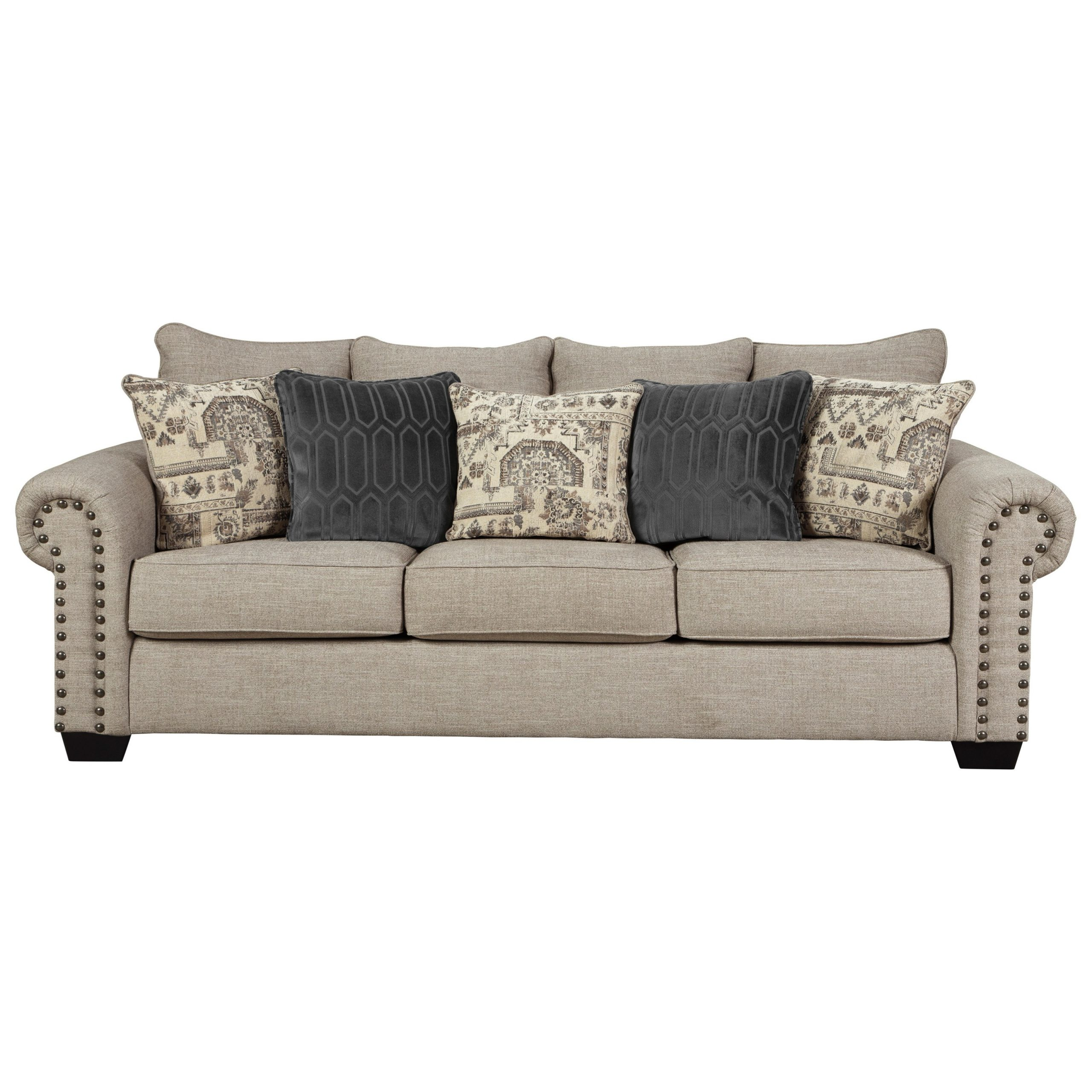 2Pc Polyfiber Sectional Sofas With Nailhead Trims Gray In Latest Signature Designashley Zarina 9770438 Transitional (View 4 of 25)