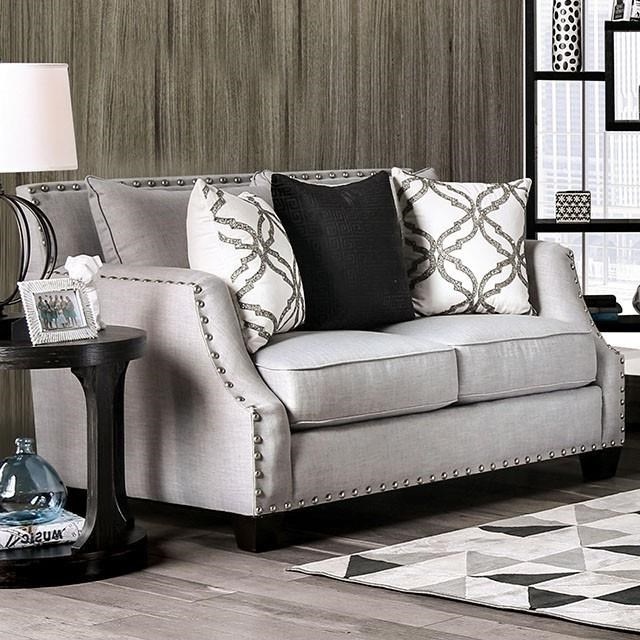 2Pc Polyfiber Sectional Sofas With Nailhead Trims Gray Inside Newest Furniture Of America Phoibe Transitional Gray Nailhead (View 20 of 25)