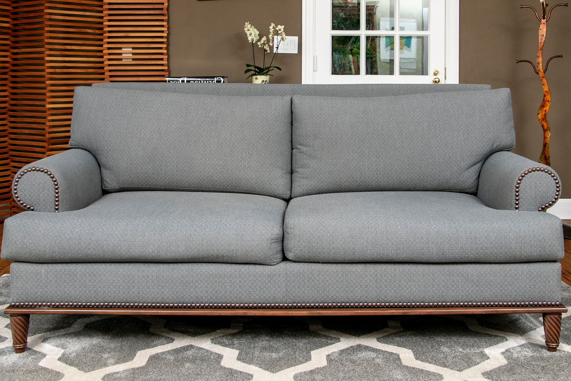 2Pc Polyfiber Sectional Sofas With Nailhead Trims Gray Regarding Widely Used Beautiful Custom Grey Upholstered Rolled Armed Sofa With (View 5 of 25)