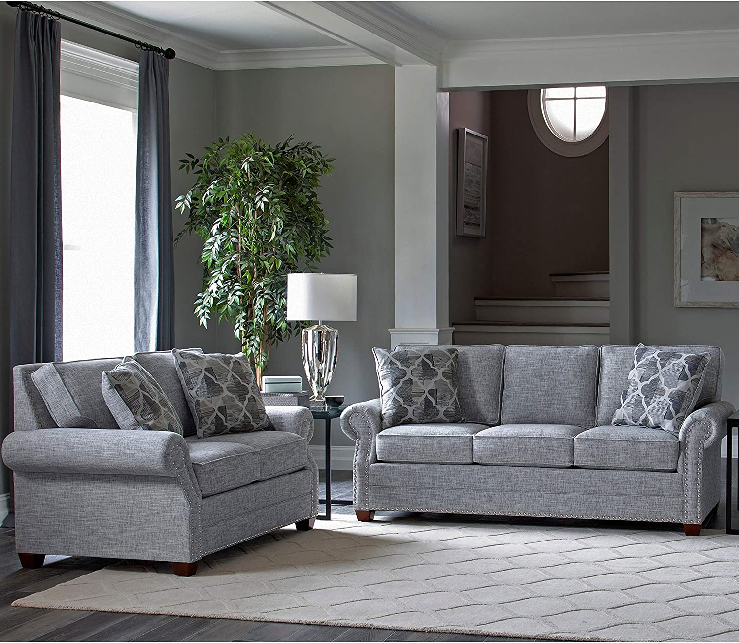 2Pc Polyfiber Sectional Sofas With Nailhead Trims Gray With Most Recently Released Amazon: Made In Usa Grey Fabric Sofa And Loveseat With (View 23 of 25)