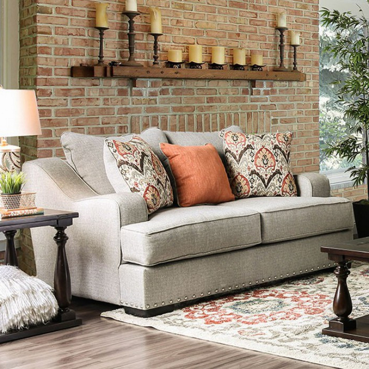 2Pc Polyfiber Sectional Sofas With Nailhead Trims Gray With Regard To Trendy Savannah Transitional Sloped Arms Light Grey Sofa Set With (View 12 of 25)