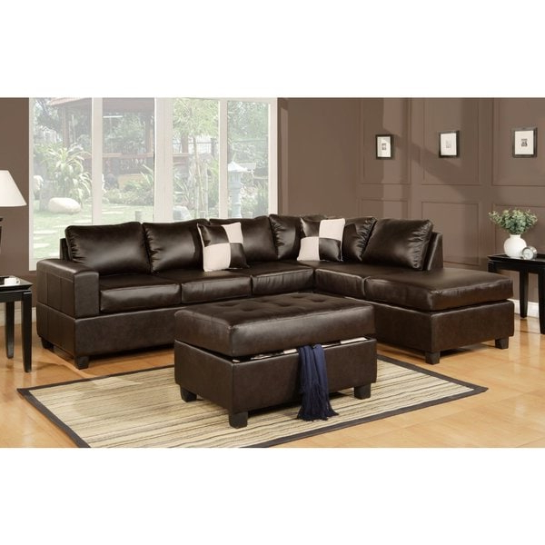 3 Piece Modern Brown Bonded Leather Reversible Sectional Inside Widely Used 3Pc Faux Leather Sectional Sofas Brown (View 8 of 25)