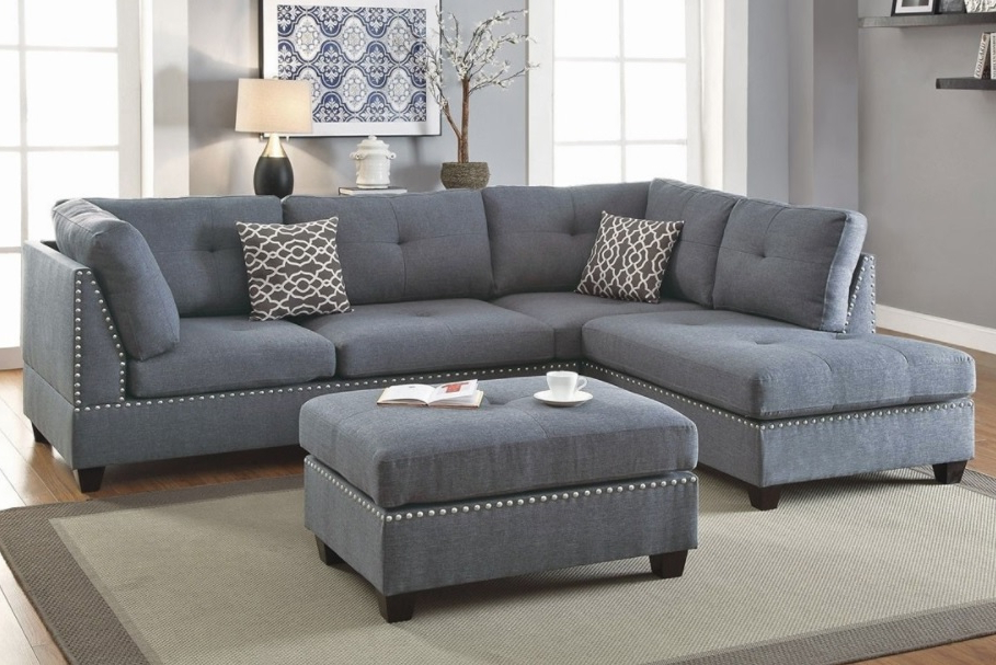 3 Piece Sectional Sofa With Ottoman, Blue Grey Color F6975 Within Latest Noa Sectional Sofas With Ottoman Gray (View 10 of 25)