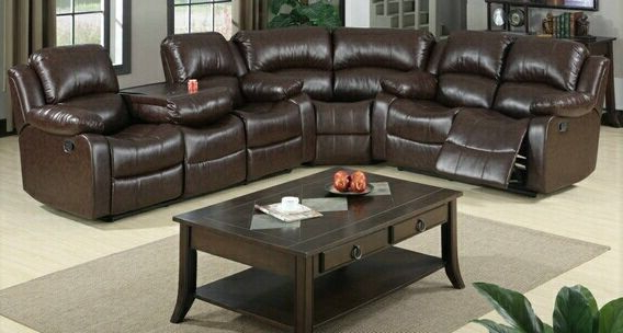 3Pc Bonded Leather Upholstered Wooden Sectional Sofas Brown For Most Recently Released 3 Pc Jerome Collection Brown Bonded Leather Upholstered (View 11 of 25)
