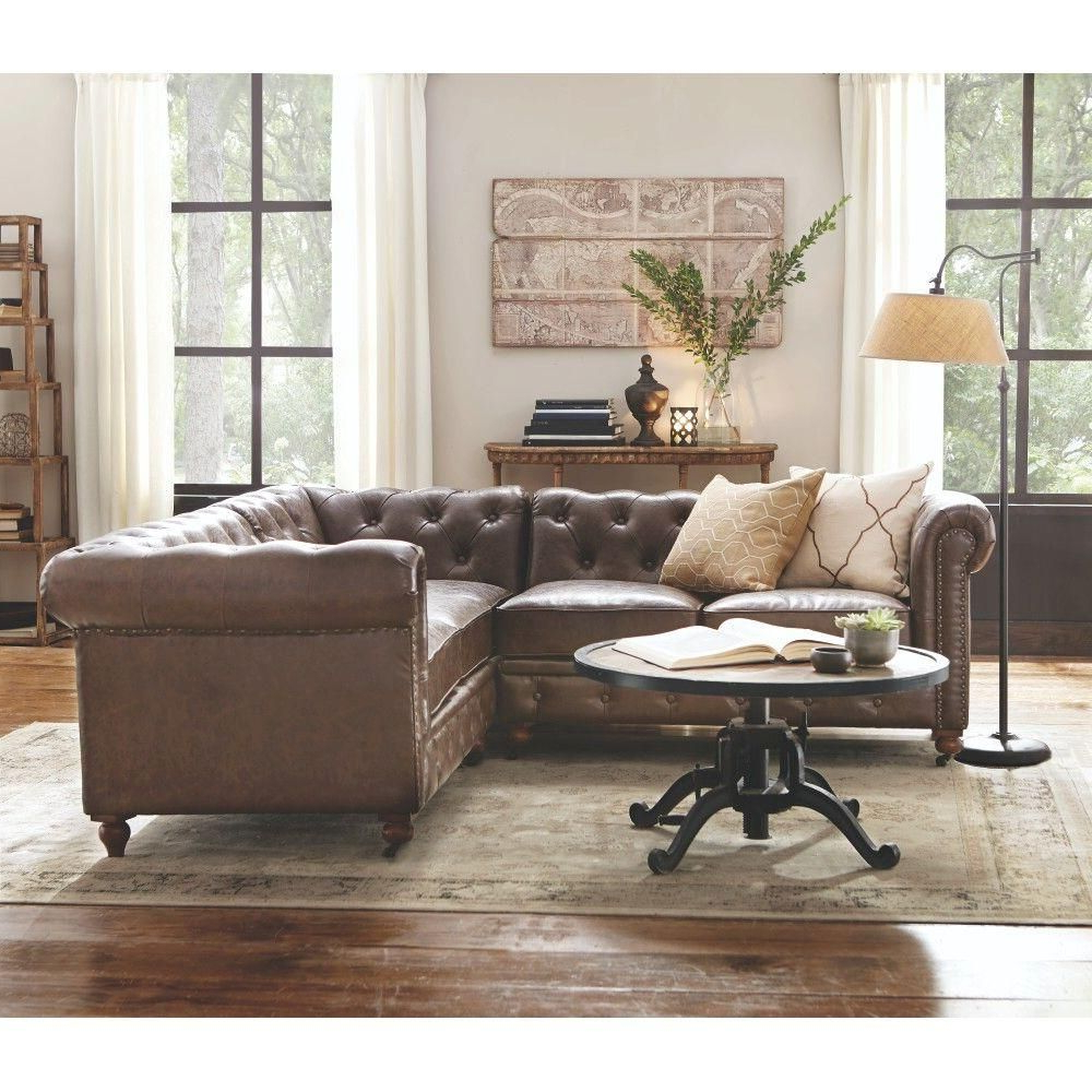3Pc Bonded Leather Upholstered Wooden Sectional Sofas Brown Regarding Well Known Home Decorators Collection Gordon 3 Piece Brown Bonded (View 8 of 25)