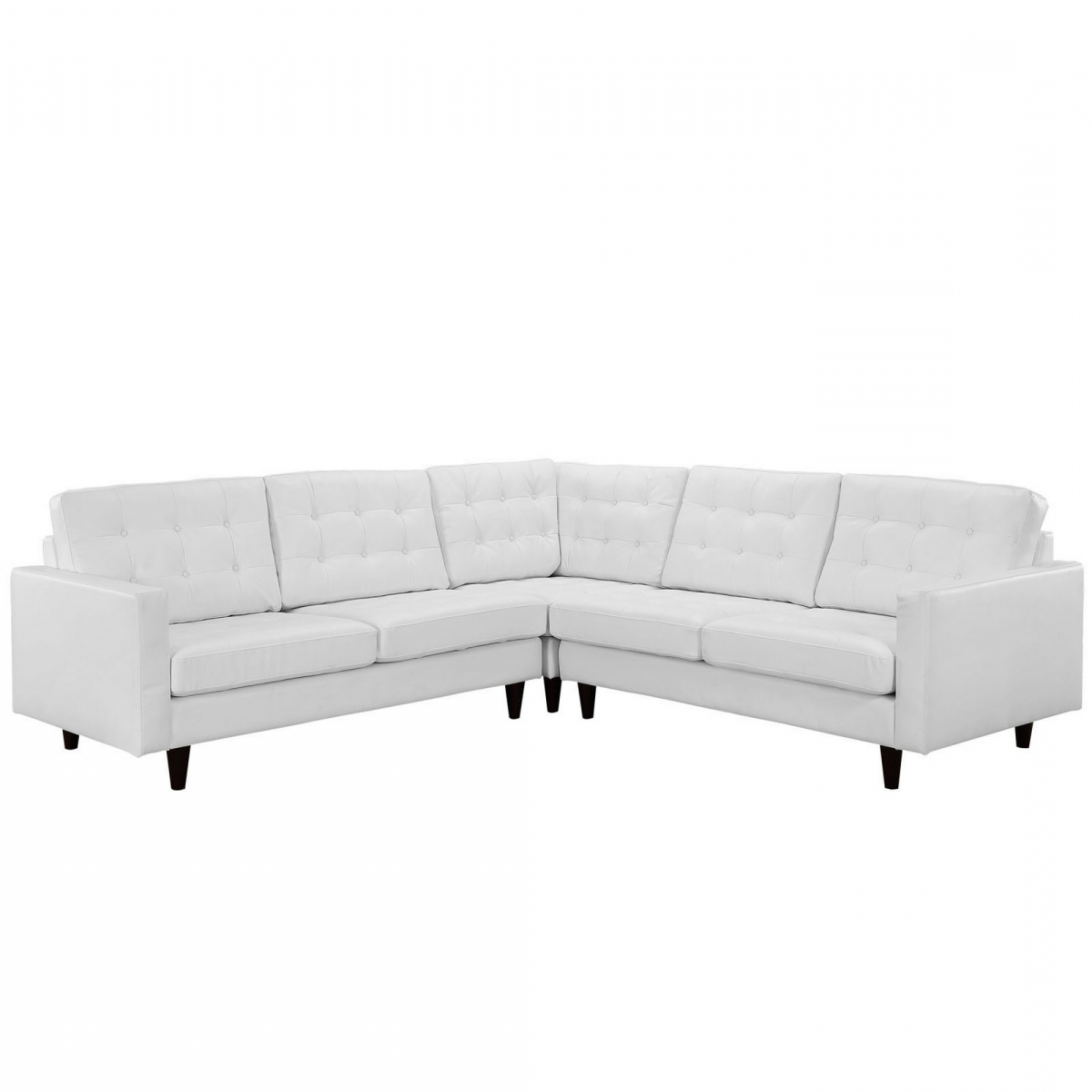 3Pc Bonded Leather Upholstered Wooden Sectional Sofas Brown Regarding Well Liked Ellen 3 Piece Leather Sectional Sofa Set – White (View 12 of 25)
