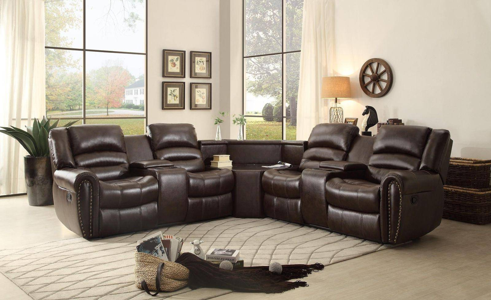 3Pc Bonded Leather Upholstered Wooden Sectional Sofas Brown With Regard To Most Recently Released Homelegance Palmyra Brown Bonded Leather Reclining (View 6 of 25)