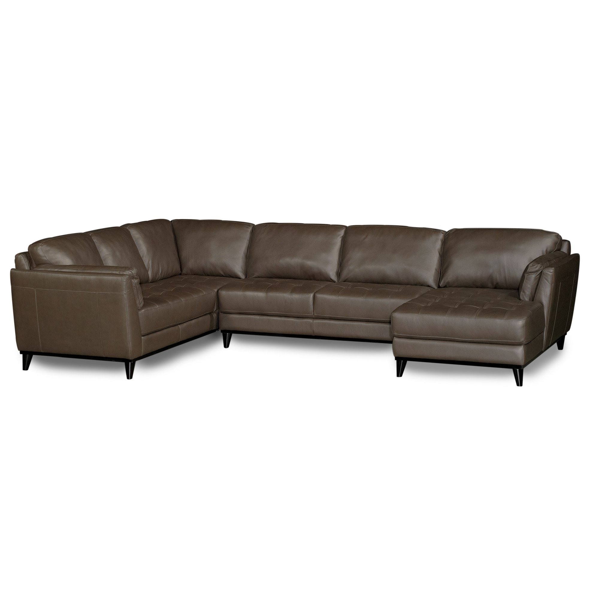 3Pc Faux Leather Sectional Sofas Brown For Most Recently Released Midtown Brown Leather 3 Piece Sectional (View 21 of 25)