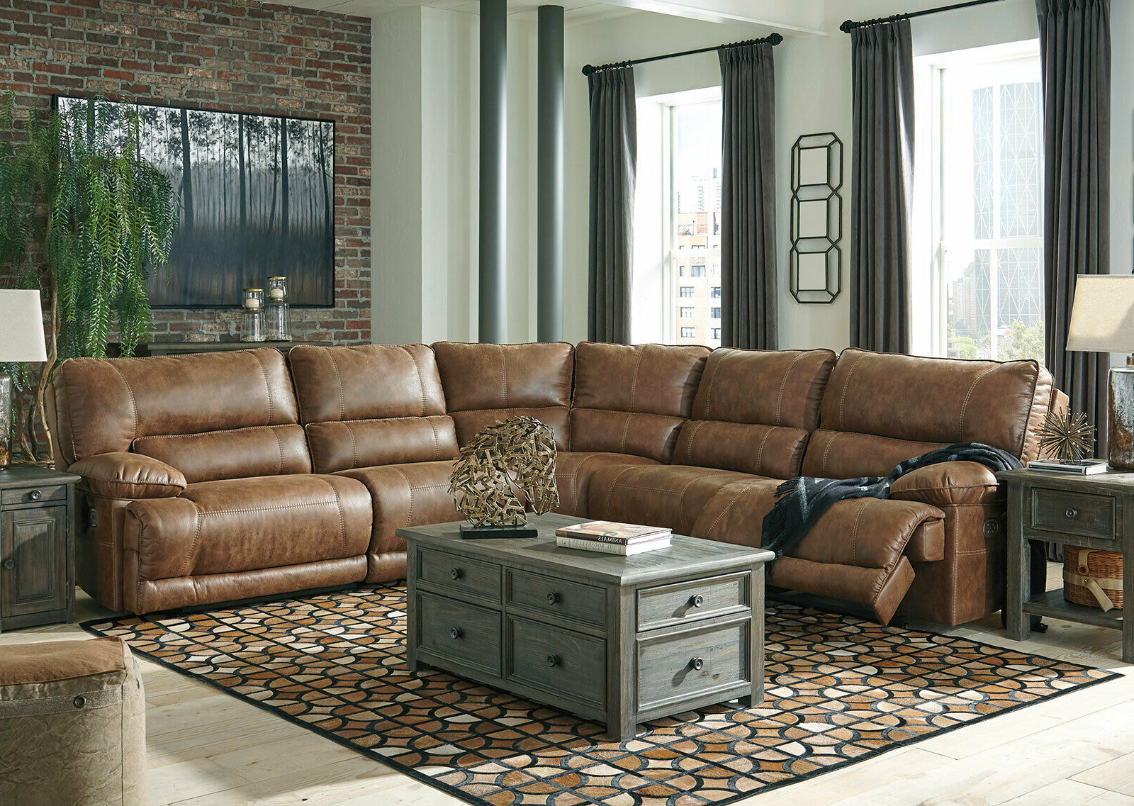 3Pc Faux Leather Sectional Sofas Brown In Favorite Living Room 5 Piece Sectional Brown Faux Leather Power (View 20 of 25)
