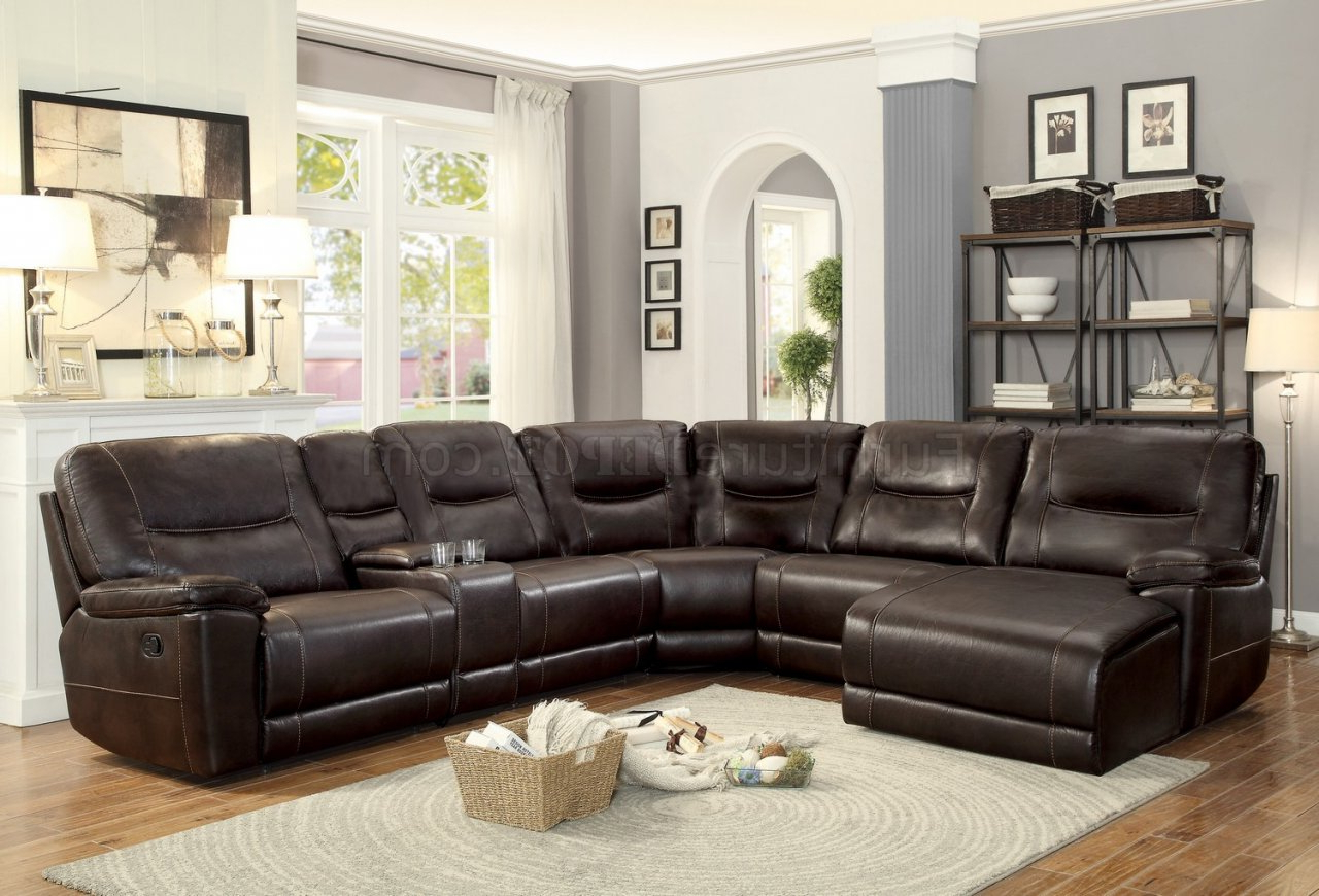 3Pc Faux Leather Sectional Sofas Brown In Most Recently Released Columbus Motion Sectional Sofa 8490 6Lcrrhomelegance (View 17 of 25)