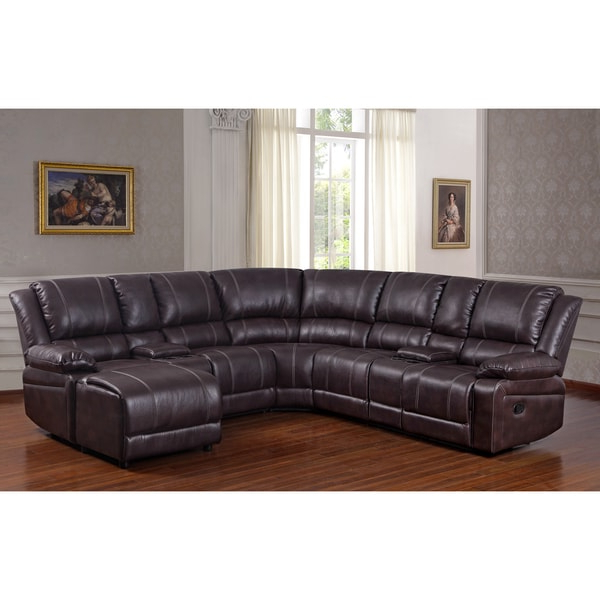 3Pc Faux Leather Sectional Sofas Brown Regarding Latest Shop Donnie Brown Faux Leather Reclining Sectional Sofa (View 12 of 25)