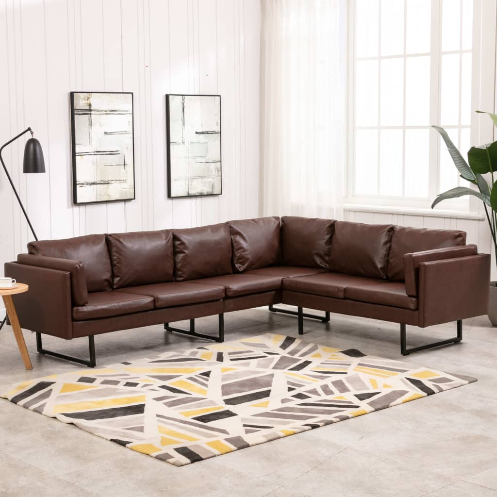 3Pc Faux Leather Sectional Sofas Brown Regarding Well Known Corner Sofa Faux Leather Brown – Furniture King (View 13 of 25)