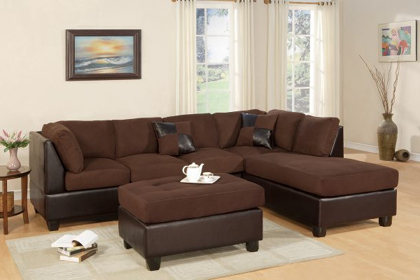 3Pc Faux Leather Sectional Sofas Brown Throughout Latest Two Tone Brown 3 Pc Sectional & Ottoman – Paradise (View 3 of 25)