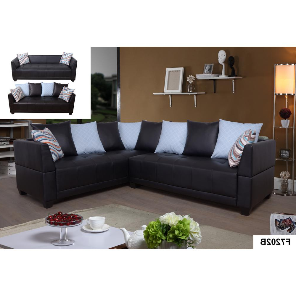 3Pc Faux Leather Sectional Sofas Brown With Regard To Preferred Brown Faux Leather Left Sectional Sofa Set (2 Piece (View 9 of 25)