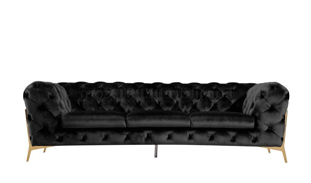 3Pc French Seamed Sectional Sofas Velvet Black Inside Newest Sheila Sofa Set 3Pc In Black Velvet Fabricvig (View 14 of 25)