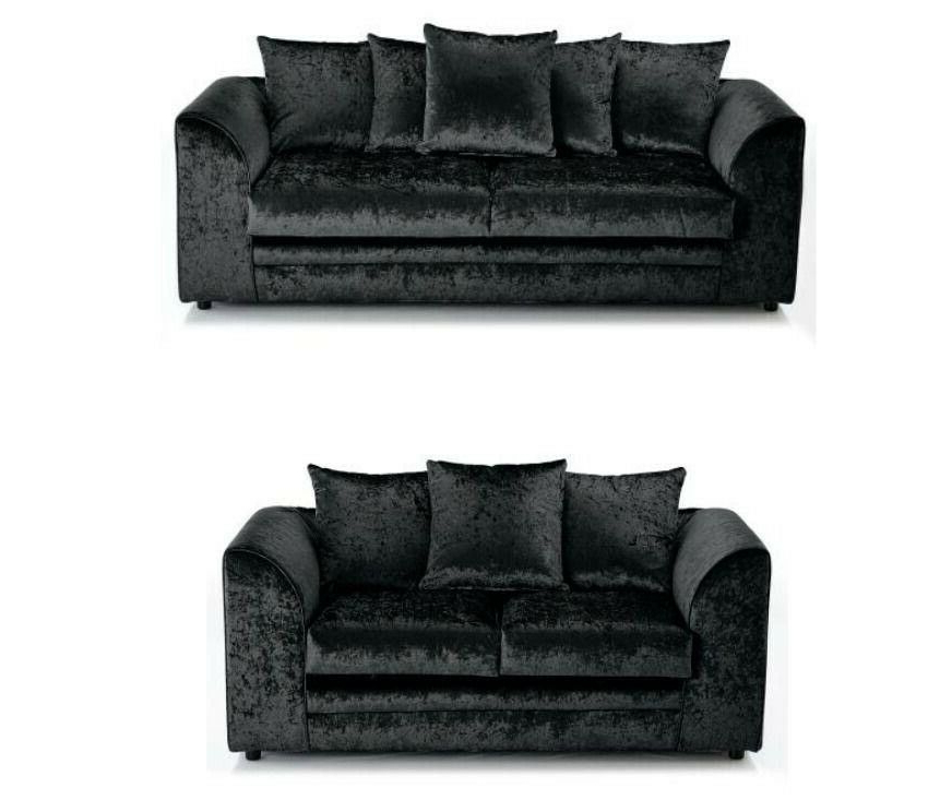 3Pc French Seamed Sectional Sofas Velvet Black Pertaining To Widely Used Brand New Black Crushed Velvet Fabric Corner Sofa Settee (View 16 of 25)