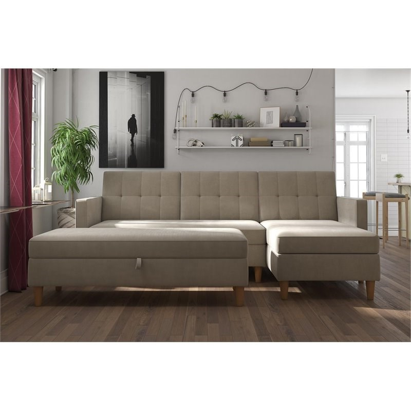 3Pc Hartford Storage Sectional Futon Sofas And Hartford Storage Ottoman Tan With Current Dhp Hartford Storage Sectional Futon And Storage Ottoman (View 5 of 23)