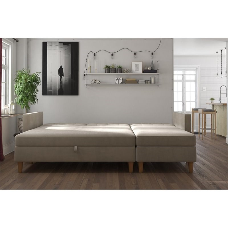 3Pc Hartford Storage Sectional Futon Sofas And Hartford Storage Ottoman Tan With Recent Dhp Hartford Storage Sectional Futon And Storage Ottoman (View 11 of 23)