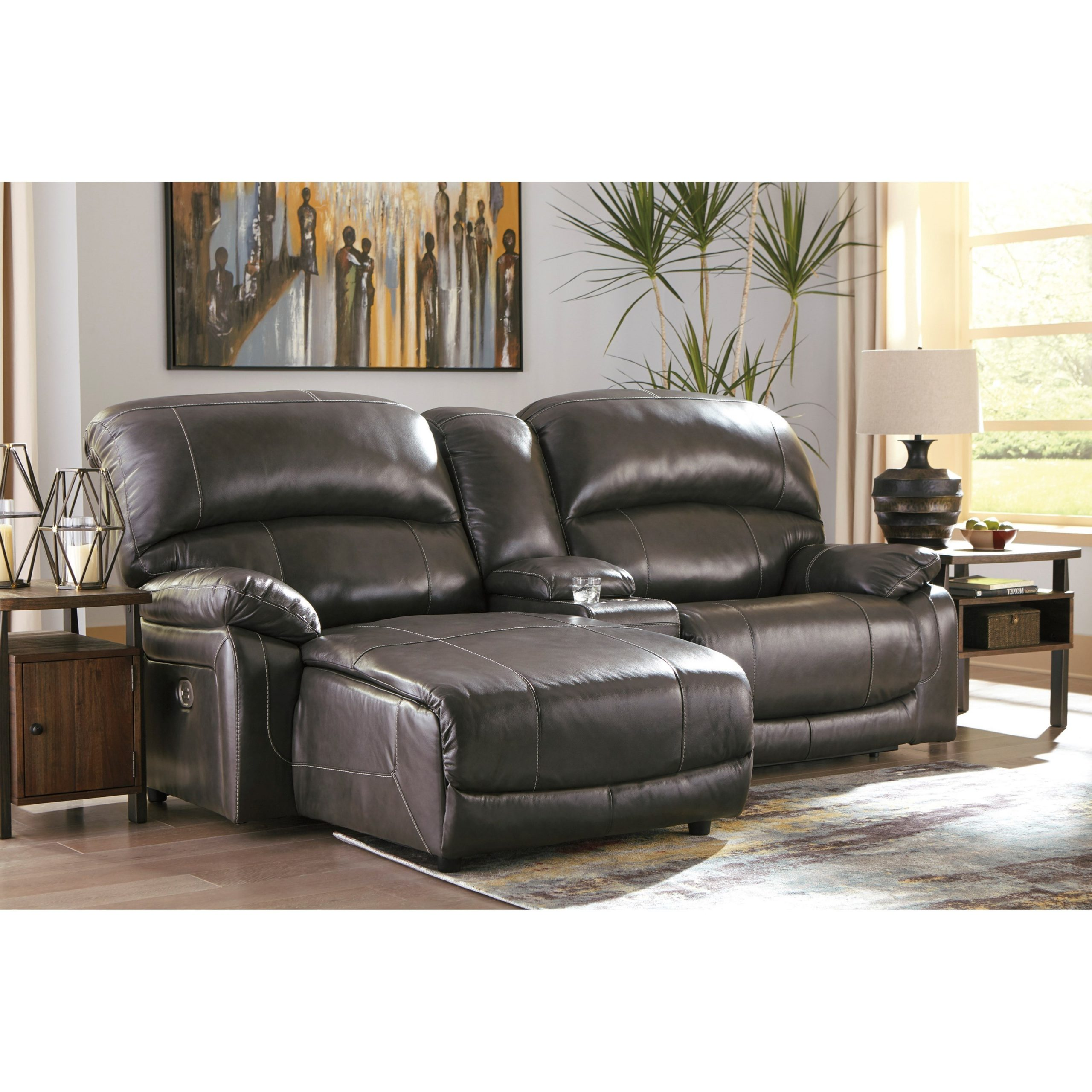 3Pc Miles Leather Sectional Sofas With Chaise Inside Preferred Signature Designashley Hallstrung Leather Match  (View 25 of 25)